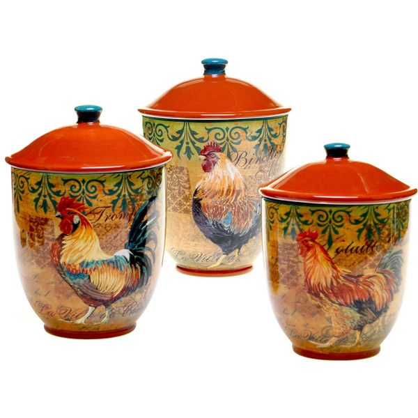 Certified International Rustic Rooster Canister ($69) ❤ liked on Polyvore featuring home, kitchen & dining, food storage containers, red, red ceramic canisters, rooster canister set, rooster canisters, sugar canister and red canisters