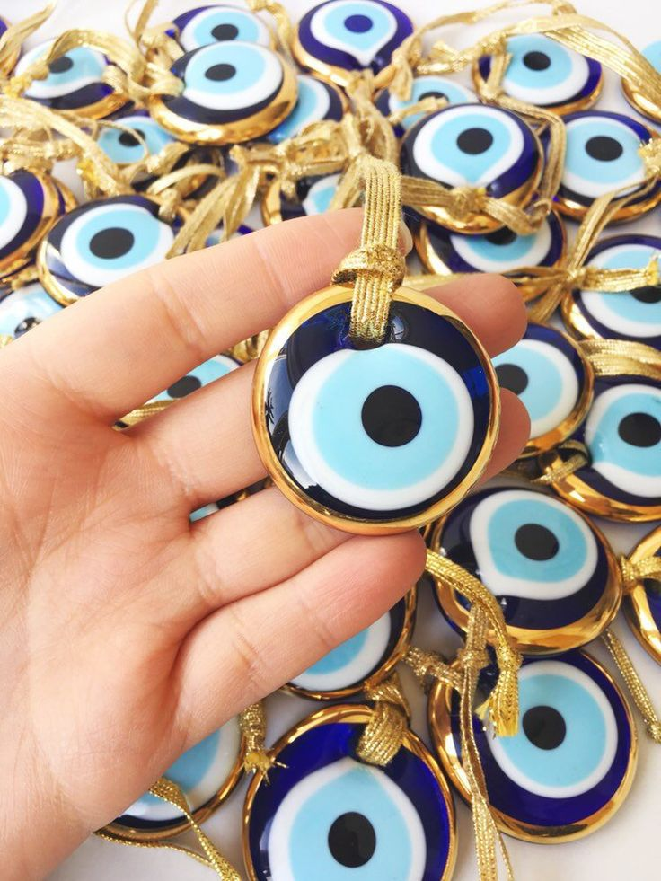 1 pc Gold evil eye bead, greek evil eye charm, gold rope evil eye bead, glass evil eye wall hanging,
