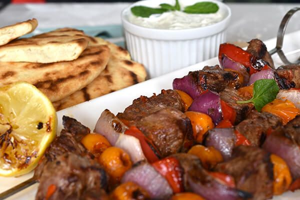 Harissa Lamb Skewers with Barbecued Flatbread and Tzatziki