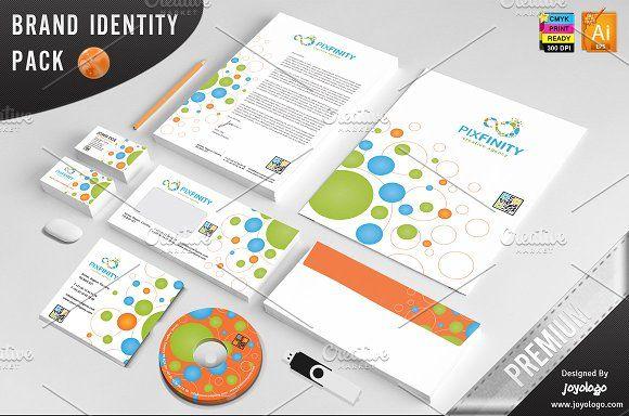 Pixel Dots Infinity Identity Templat by joyologo on @creativemarket