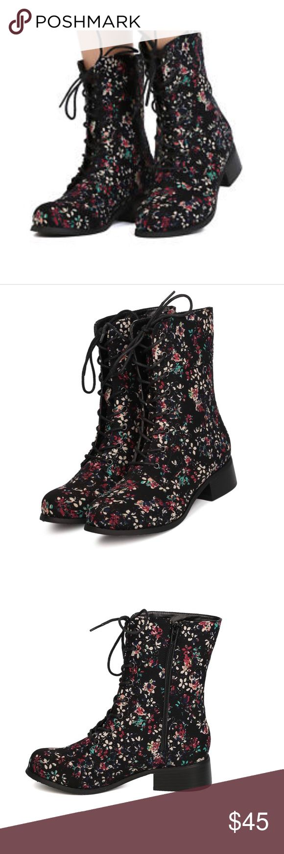 CANVAS FLORAL COMBAT BOOTS Really cute floral combat boots!! Man made sole and upper. These are so cute! Lace-up!! Wild Diva Shoes Lace Up Boots