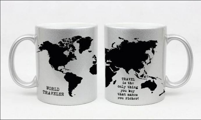 "Our world traveler mug makes the perfect treat for the travel enthusiast.  With it's bold, iconic world map print and the powerful words : ""Travel is the only thing you buy that makes you richer"" is the perfect gift for any globe-trotter.  link to our shop:  http://www.storymood.com/shop/products/deco/mugs/273-world-traveler-mug #storymood"