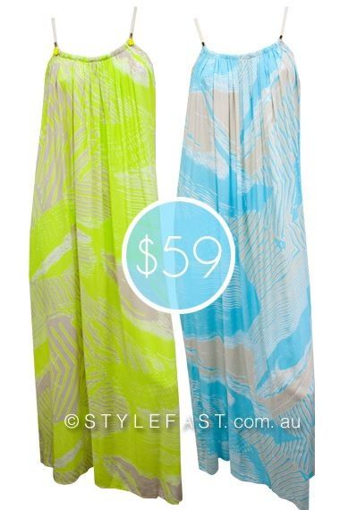 Eternal Spring Maxi Dresses in Neon Lime & Beige or Aqua & Beige.  Online Boutique StyleFast.com.au. $59 each.