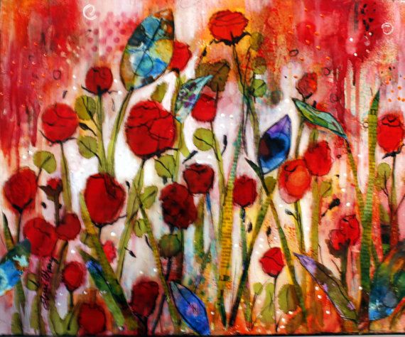 """Original mixed media collage on canvas. 16 x 20  """"Hope and Joy Springing Up"""" colorful floral"""