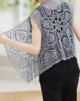 Crochet pineapple vest with drape in front. It's in Chinese but easy to see that there are 3 identical panels sawn together. Very nice!