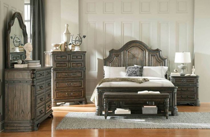 Rustic Spanish Style 4 Pc King Bed N S Dresser Mirror Bedroom Furniture Set