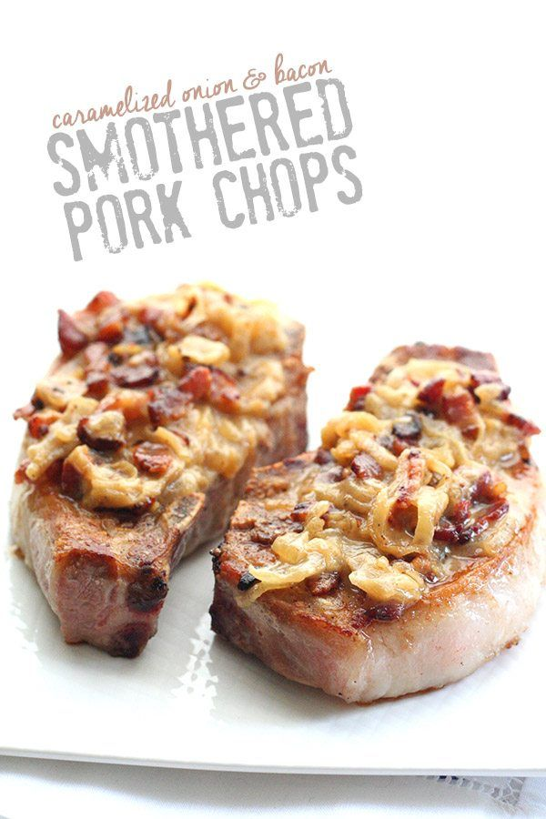 Juicy, tender pork chops smothered in a creamy onion and bacon sauce. This might just be the best low carb meal I've ever had! Okay, people. Run, run, do not walk, run to your kitchen and make these low carb pork chops for dinner. Run as fast as you can. Stop only at your local grocery store to get any necessary ingredients. Although, if you are a good low carber, chances are you already have all of this in your fridge. So hurry home and whip out a good skillet, chop your bacon, slice you...