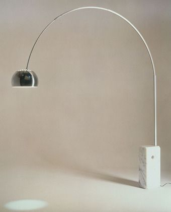Arco Floor Lamp Achille Castiglioni (Italian, 1918–2002) and Pier Giacomo Castiglioni (Italian, 1913–1968) 1962. Marble and stainless steel, (maximum): 95 1/8 x 84 x 12 1/4 (241.6 x 213.4 x 31.1 cm) (minimum): 95 1/8 x 81 1/2 x 12 1/4 (241.6 x 207 x 31.1 cm). Manufactured by Flos S.p.A. Gift of the manufacturer