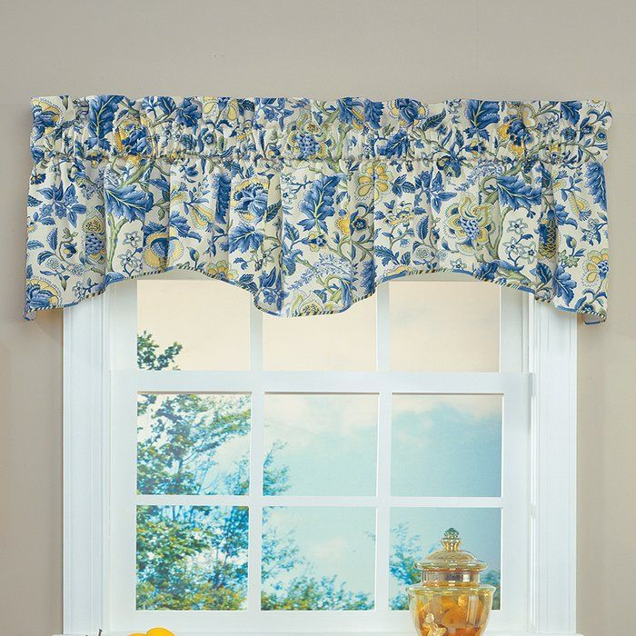 Imperial Dress Floral Cotton Scalloped Window Valance In Blue Green White Window Valance Valance Waverly