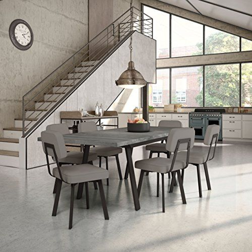 Amisco Clarkson Metal Chairs and Kane Table, Dining set dark brown metal, gray polyurethane and gray wood set of 4 chairs and 1 table