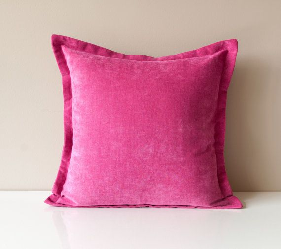 $33 Pink Velvet Throw Pillow 24x24 Cover  Solid Throw by OneHappyPillow