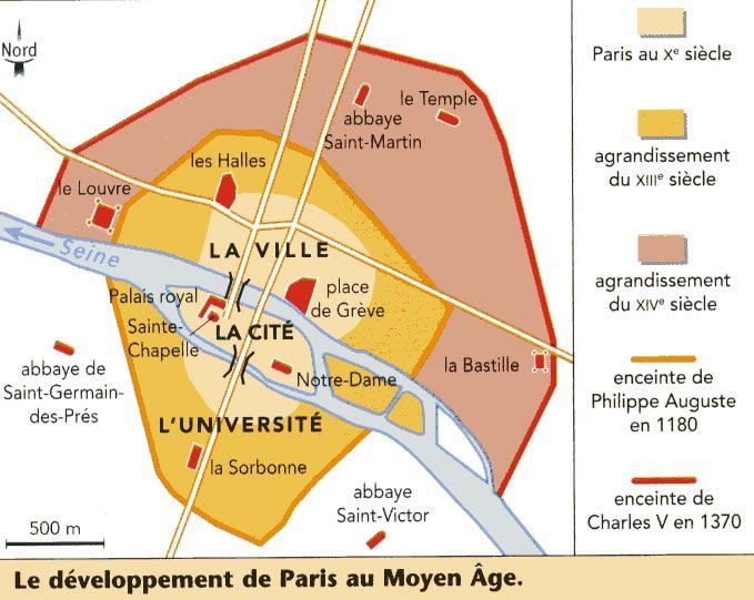 Plan paris au moyen age cartes et histoire des villes - Plan du peripherique parisien les portes ...
