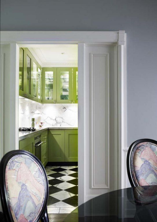 floors -- Greg Natale: Greg Natal, Cabinets Colors, Kitchens Design, Green Cabinets, Contemporary Kitchens, Black And White, Black White, Green Kitchens, Eclectic Kitchens