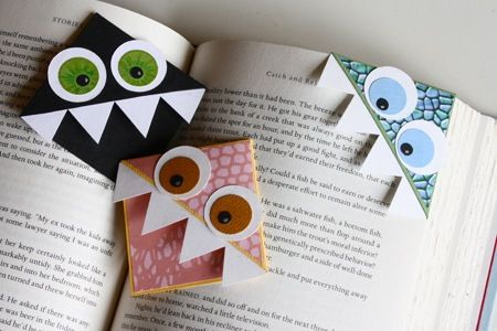 adorable corner bookmarks that look like monsters eating your book.  lovely! via @sisterdiane and @Craft