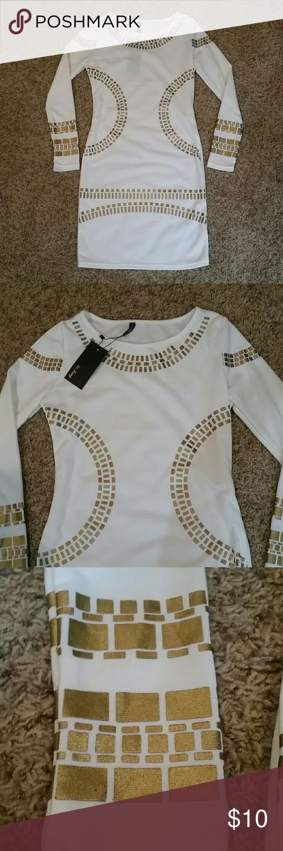 Beautiful white and gold bodycon dress NWT Long Sleeve bodycon dress.... Dresses
