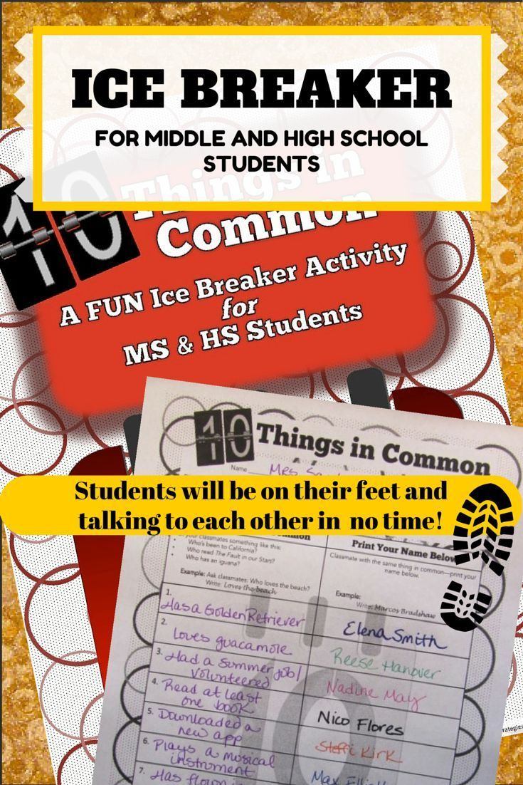 Free Ice Breaker is perfect for Middle and High School students. Requires thinking, conversation, movement--and fun! Student tested and teacher approved! *Freebie!*