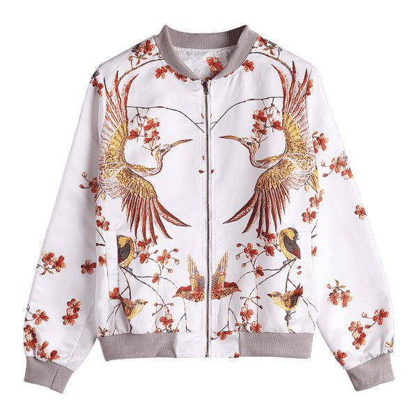 Phoenix Print Bomber Jacket (60 TND) ❤ liked on Polyvore featuring outerwear, jackets, floral-print bomber jackets, flight jacket, print jacket, white jacket and pattern jacket