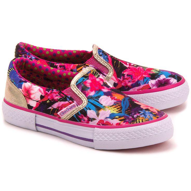 SKECHERS Esplande - Różowe Nylonowe Trampki Dziecięce - Mivo #mivo #mivoshoes #shoes #slipon #pink #colorful #colors #print #pattern #buty #spring #summer