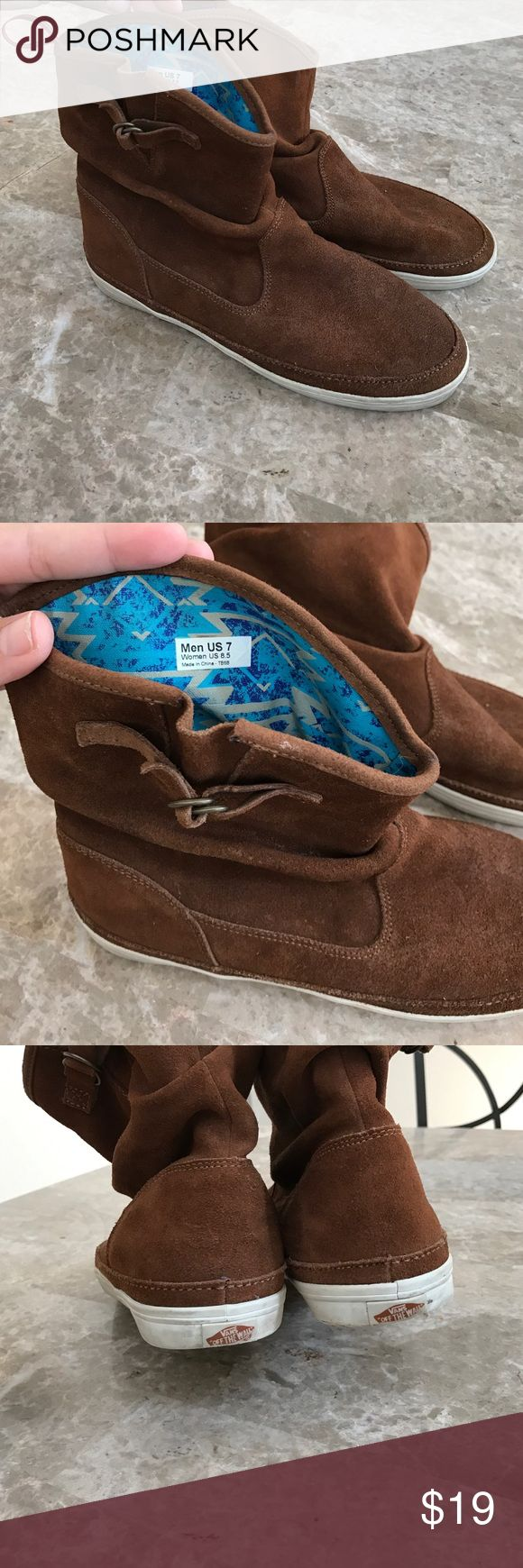 Vans boot style Bought these from another posher never wore them I feel they run small it's says men's 7 women's 8.5 but I feel it's more like a ladies 7.5 to 8 men's 6 to. 6.5 . I paid total ship $20.95 but just asking for what I paid without ship Vans Shoes Ankle Boots & Booties