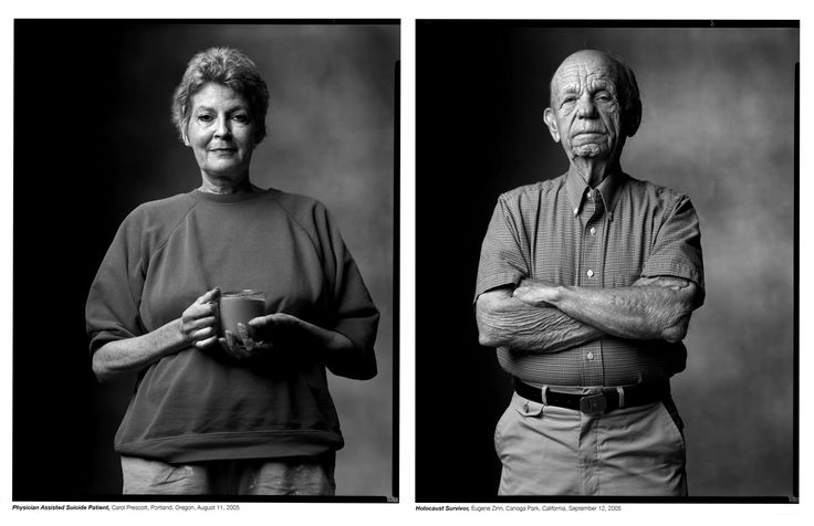 "Do You Think These People Were Created Equal After Seeing These Photos?  Mark Laita decided to stand people of different backgrounds, occupations, and appearances next to each other to — in his words — ""let the viewer think for themselves about how the two individuals in the photographs relate and what that means.""  Physician Assisted Suicide Patient/Holocaust Survivor"
