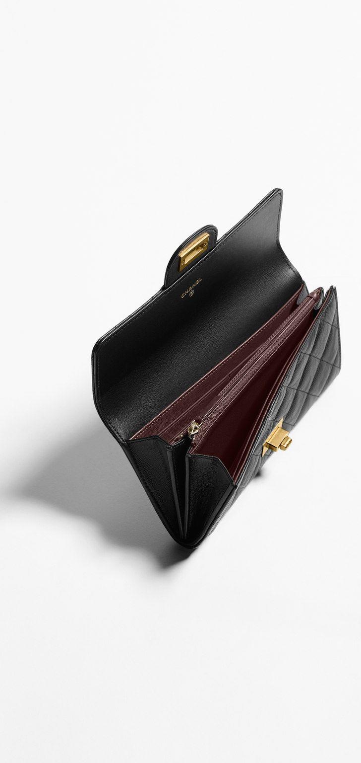 Carteira, couro de novilho envelhecido & metal dourado claro-preto & burgundy - CHANEL