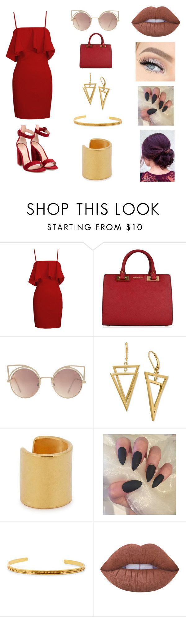 """""""Red/Gold"""" by meron1718 ❤ liked on Polyvore featuring MICHAEL Michael Kors, MANGO, Maya Magal, Liza Echeverry, Lime Crime and Gianvito Rossi"""
