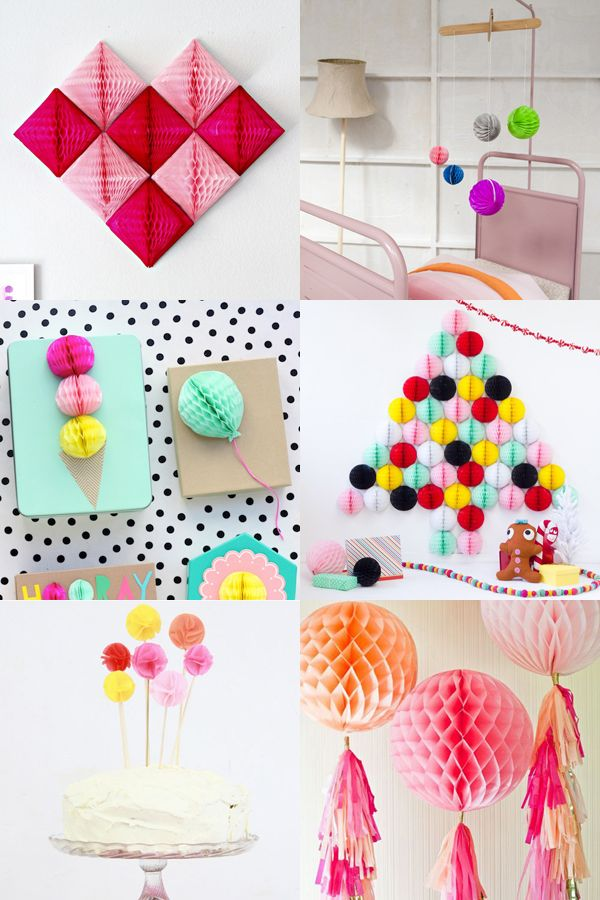 20 ways with honeycomb paper pom poms - Mollie Makes #mollietakeover