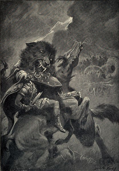 FENRIR;son of Loki   a monstrous wolf in Norse mythology, becoming massive in size   is foretold to devour Odin in the battle of Ragnarok, and in return slain by Odins son, Vioarr.