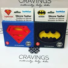 Never to early to have the kids picking sides! Superman vs Batman. It's a big decision!! These super cute teether will bring out the nerd in mom, dad and baby.