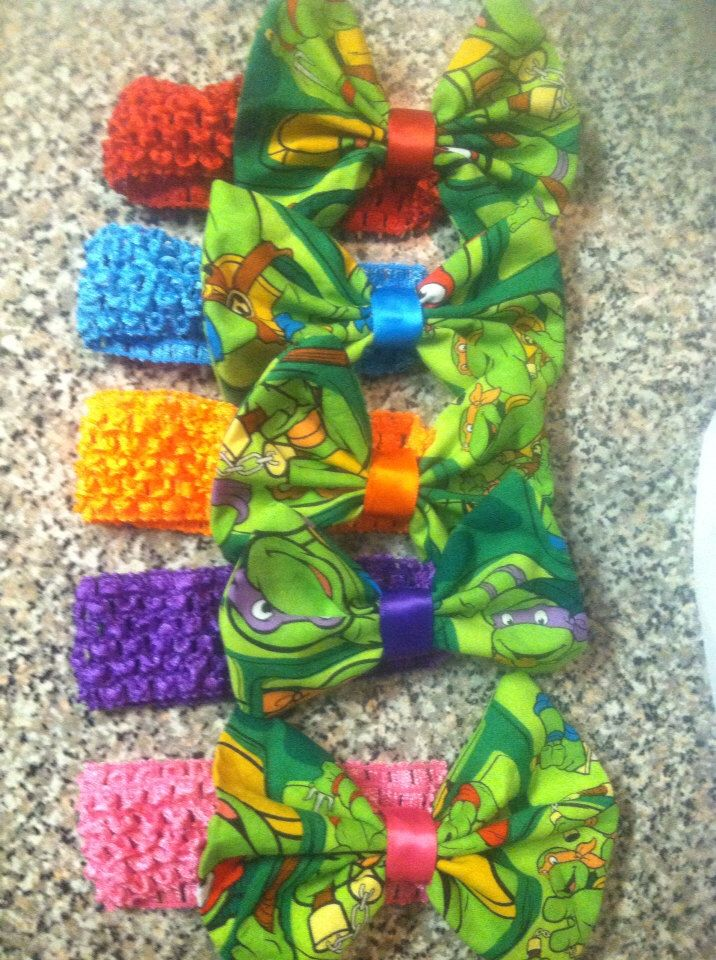Baby to adult crochet inspired ninja turtle headbands by SugarAndSpiceBowShop on Etsy https://www.etsy.com/listing/179223093/baby-to-adult-crochet-inspired-ninja