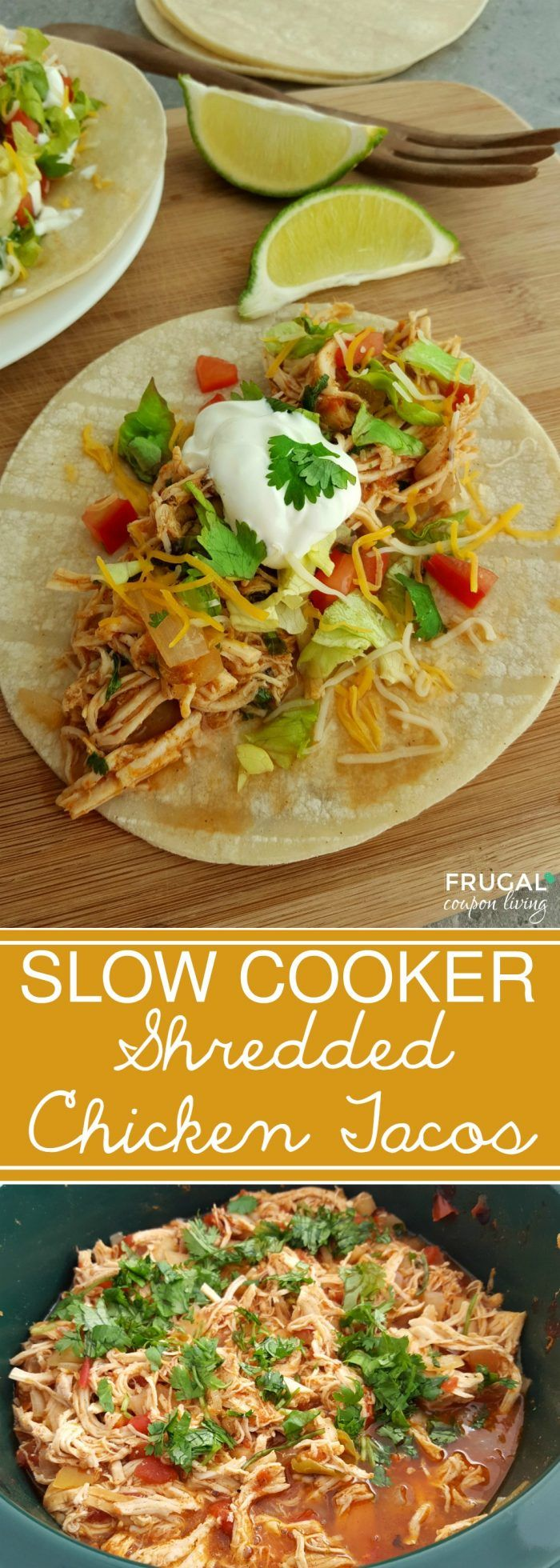 Shredded Chicken Tacos in the Slow Cooker on Frugal Coupon Living. Easy Taco Recipe for Taco Tuesday. Crockpot recipe.