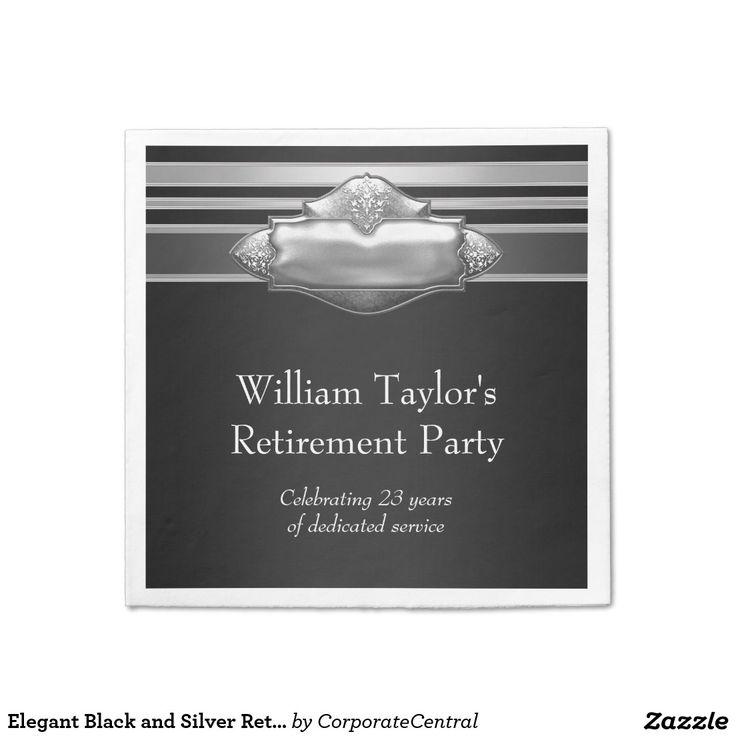 Elegant Black and Silver Retirement Napkin 36