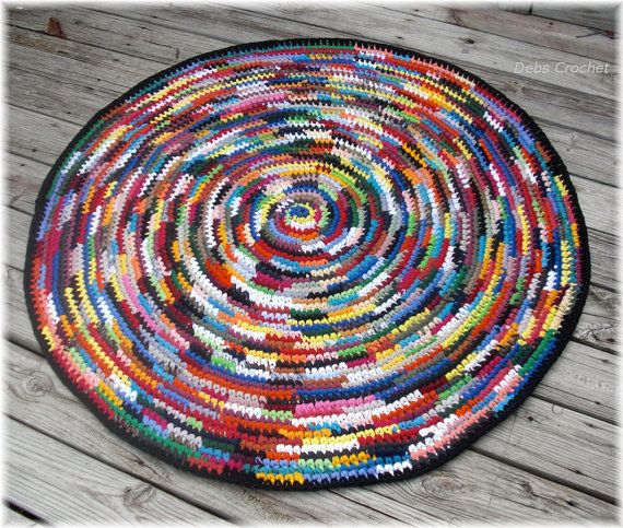 Round Multi Color Rag Rug 50 inches by DebbieCrochets on Etsy, $150.00