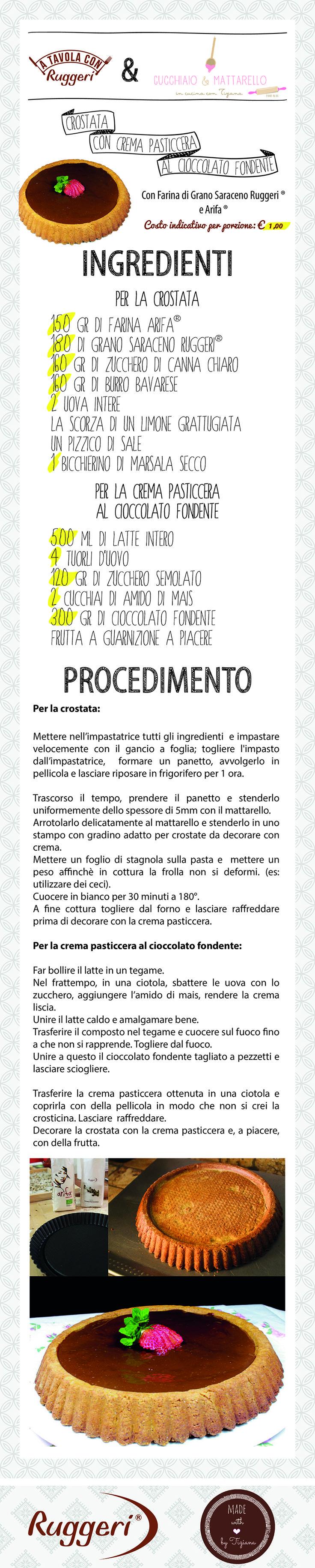 Ricetta per crostata con crema pasticcera al cioccolato fondente. Prodotti Ruggeri utilizzati: - Farina di Grano Saraceno Ruggeri, - Arifa.  http://www.ruggerishop.it/it/ http://blog.alice.tv/cucchiaioemattarello/