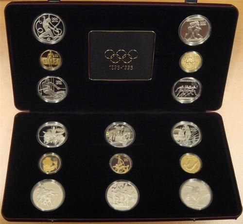 Olympic Centennial Proof Set 1896-1996 Complete 15-coin Gold and Silver VIP Coin Set  Between 1992 and 1996 only five countries were  invited to issue special Choice Cameo Proof  presentation gold and silver coins by the International  Olympic Committee .Many of these sets, in the original plush VIP case  were presented to dignitaries by the IOC. All 15- coins are in select Choice Gem Cameo Proof condition, with original  plush VIP  15-coin Case, and certificates of authenticity. value=$6000