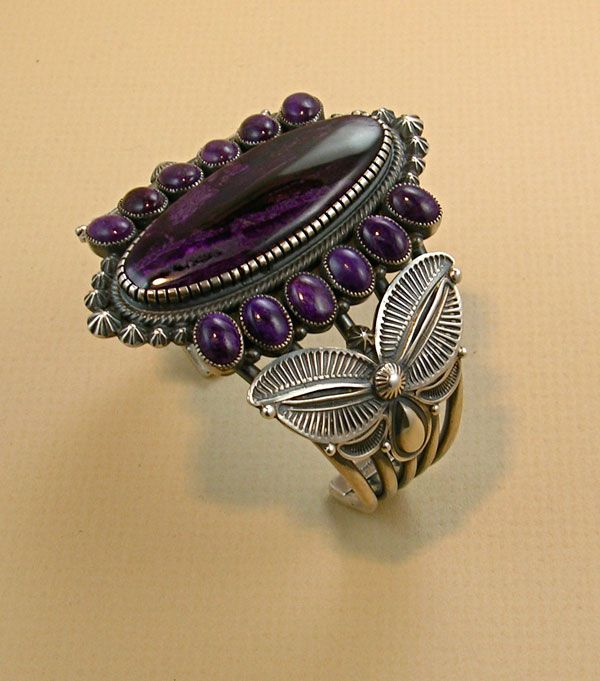 Cuff | Kirk Smith (Navajo).  Sterling silver and sugilite