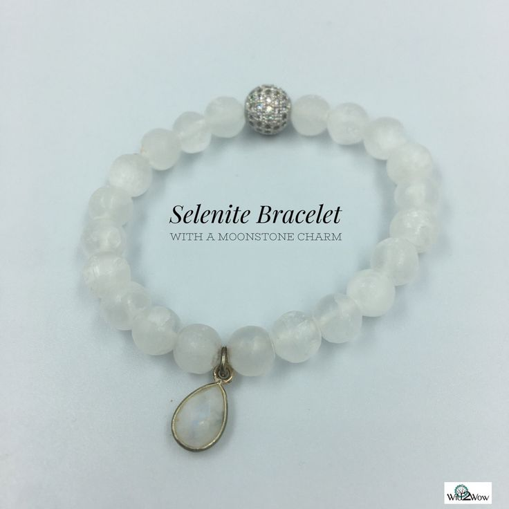 Selenite Crystal Healing Bracelet with a Moonstone Charm