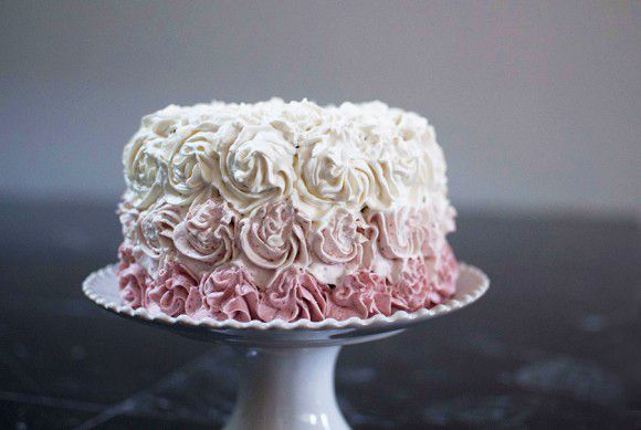 Healthy First Birthday Cake - Vanilla Cake with Strawberry Frosting