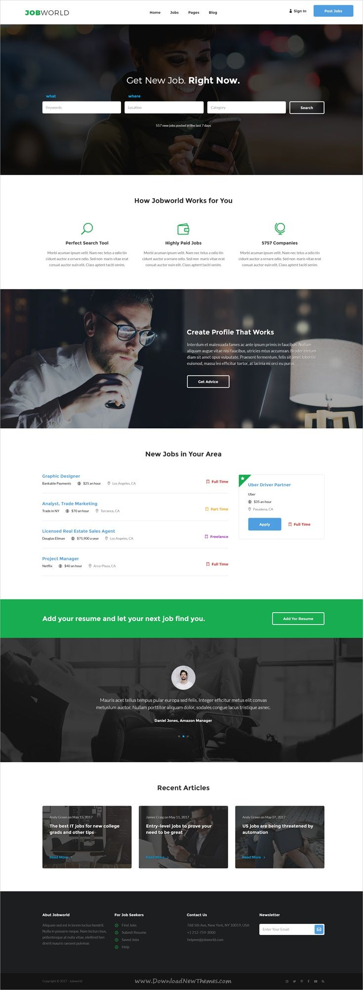 Job World is clean and modern design #Photoshop template for #Job portals website with 22 layered PSD files download now > https://themeforest.net/item/job-portal-template-job-world/19962047?ref=Datasata