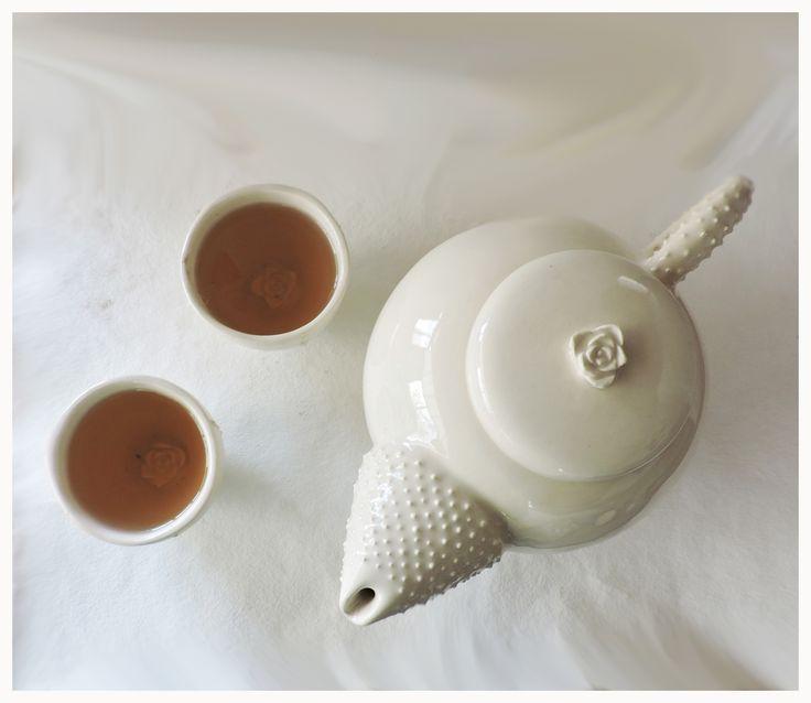 tetera pocillo ceramica artesanal romantico