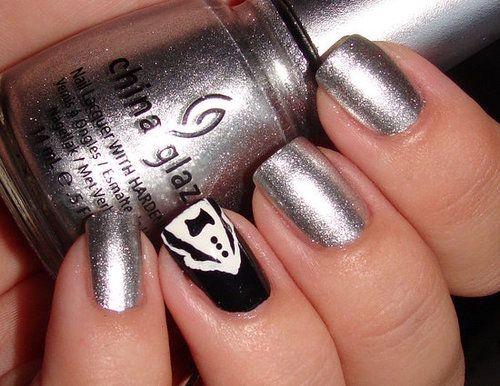 Tuxedo nails :) love the silver!: Hair Eyes Lips Nails, Tuxedo Gentleman Nails, Beautiful Nails, Fun Hair Nails Makeup, Tuxedo Nails, Manicure Ideas, Nail Ideas, Nail Art