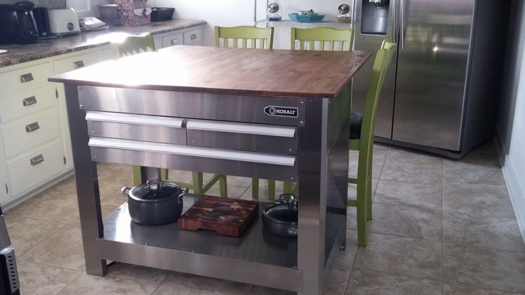 Tool Box Island With Butcher Block Top Kitchen Island