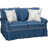 Blue Loveseat, White Piping