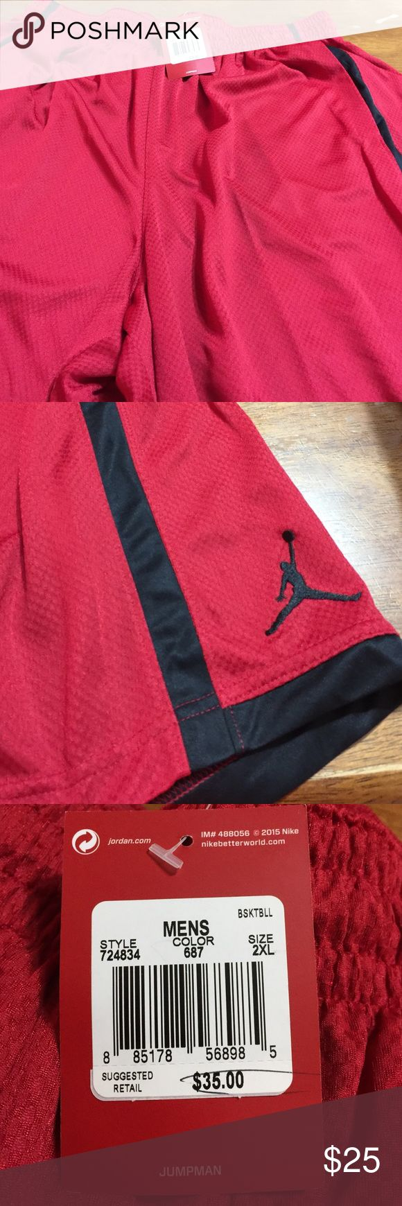 Nwt men's 2x red and black Jordan basketball short Nwt men's 2x Jordan basketball shorts. Red and black Jordan Shorts Athletic