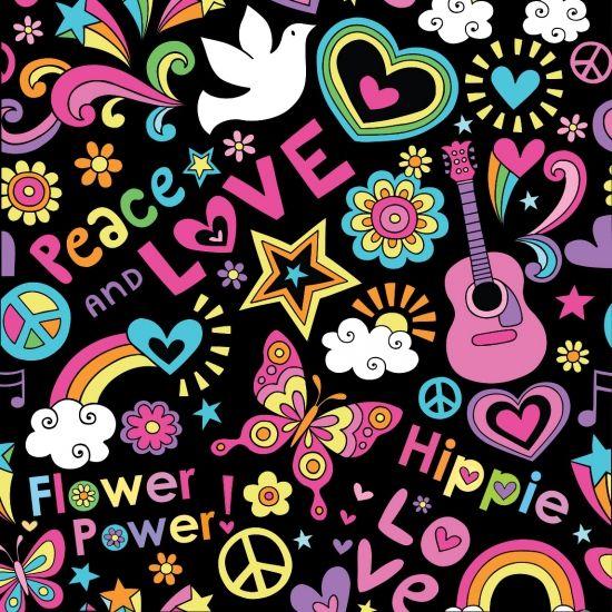 Sixties flower power thema viltjes
