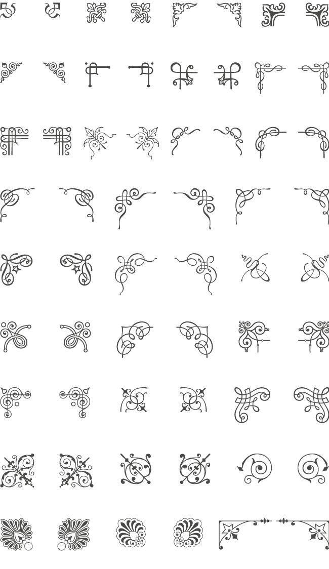 A huge collection of 66 corner vector ornaments. Add the decorative corners to embellish your layout and give a classic touch. Easily adapt these vector art elements to your needs: change the ornament colors, resize it or modify it... You're the one who decides!The vintage ornaments included in this collection are carefully reproduced from the best 19th century type foundries catalogs.You can quickly adapt all the vector graphics to fit your design needs: vintage menus, stylish branding…