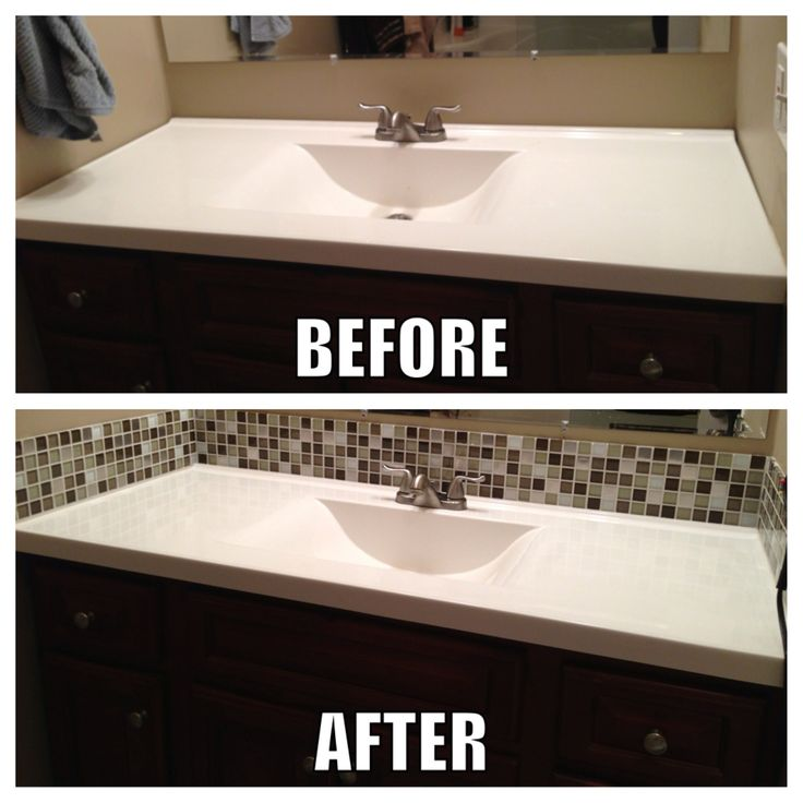 square glass tile back splash makes a big difference in the bathroom