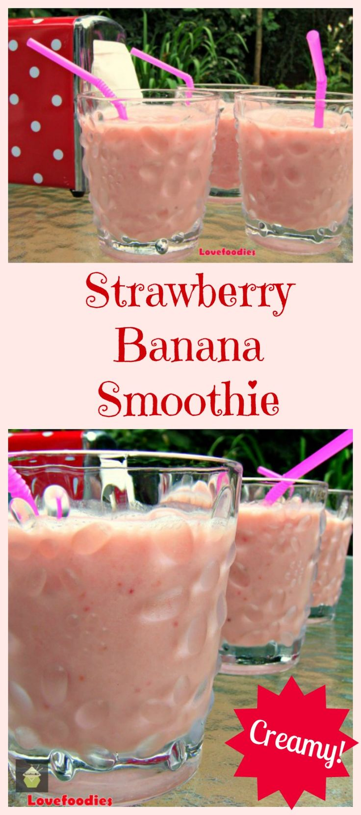 Easy Creamy Strawberry Banana Smoothie. Tastes just like milkshake but ...