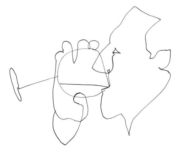 Wine, 2010, pencil on paper. BICYCLETTA RESTAURANT, by Clemens Habicht