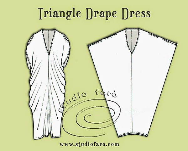 well-suited: Pattern Puzzle - Triangle Drape Dress...really good for those beautiful prints you don't want to cut apart.
